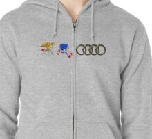 Sonic & Tails Audi Rings Zipped Hoodie