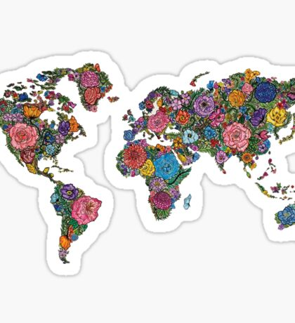 Floral World Map Sticker