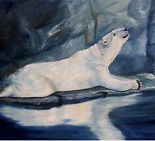 Praying Polar Bear Original Oil Painting by Brenda Thour