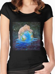 Global Warming Polar Bear and Cubs Women's Fitted Scoop T-Shirt