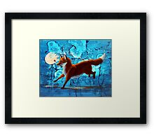 Fantasy Red Kitsune Fox Illustration Framed Print