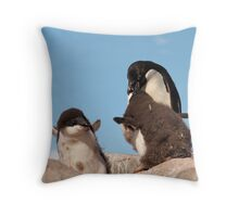 "Adelie Penguin and chicks ~ ""and WHEN do I get fed!!"" Throw Pillow"