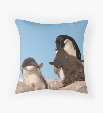 """Adelie Penguin and chicks ~ """"and WHEN do I get fed!!"""" Throw Pillow"""