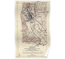 Civil War Maps 1831 Topographic map of Fredericksburg and vicinity Virginia showing battlefields Poster