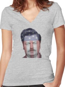 Ron Swanson Women's Fitted V-Neck T-Shirt