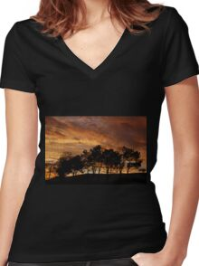 Stormy Sky at Sunset Women's Fitted V-Neck T-Shirt