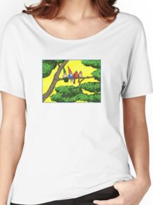 Gnomes and cardinals, perched on a branch, enjoying the air Women's Relaxed Fit T-Shirt