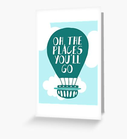Oh the Places You'll Go - Green Hot Air Balloon Greeting Card