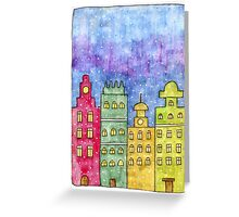 Watercolor city. Old buildings Greeting Card