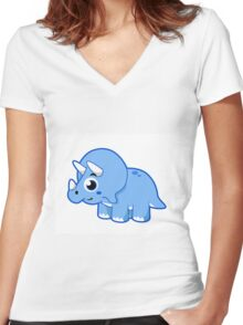 Cute illustration of a Triceratops dinosaur. Women's Fitted V-Neck T-Shirt