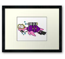 Illustration of a Loch Ness Monster scuba diver. Framed Print