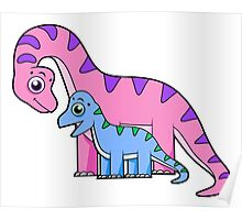 Cute illustration of a mother and child Brachiosaurus. Poster