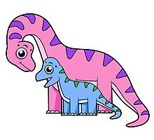 Cute illustration of a mother and child Brachiosaurus. Photographic Print