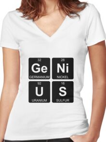 Ge Ni U S - Genius - Periodic Table - Chemistry Women's Fitted V-Neck T-Shirt