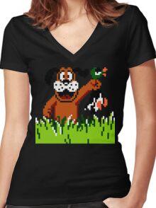 """Retro Retriever"" Duck Hunt Women's Fitted V-Neck T-Shirt"