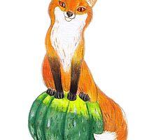 Funny Fox on Green Pumpkin by RagAragno