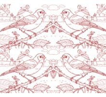 Chaffinch Toile de Jouy Inspired Red Sticker