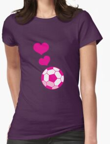 Pink hearts with Soccer Footballs T-Shirt