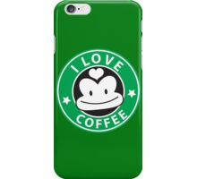 I LOVE COFFEE funny face green logo iPhone Case/Skin