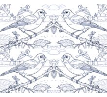 Chaffinch Toile de Jouy Inspired Blue Sticker