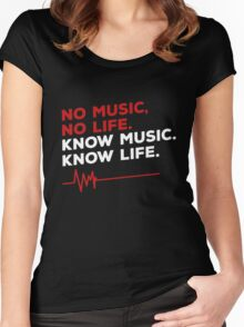 No music. no life. know music. know life. Women's Fitted Scoop T-Shirt