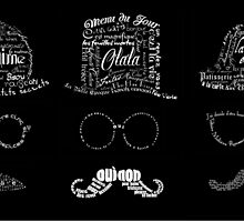 3 Typographic French men with mustaches by MariondeLauzun