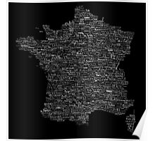 Typographic Map of France Poster
