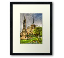 Notre Dame ..Garden Fountain view .. HDR Framed Print