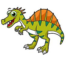 Cute illustration of a smiling Spinosaurus. Photographic Print