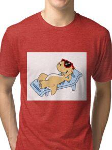 Illustration of a sunbathing Tyrannosaurus Rex. Tri-blend T-Shirt
