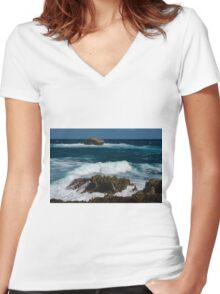Boiling the Ocean at Laie Point State Wayside, Oahu's North Shore in Hawaii Women's Fitted V-Neck T-Shirt