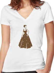 pretty vintage lady in brown elegant Women's Fitted V-Neck T-Shirt