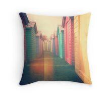 Beach Huts 02D - Retro Throw Pillow