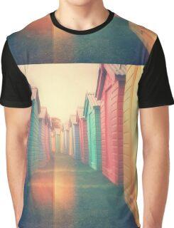 Beach Huts 02D - Retro Graphic T-Shirt