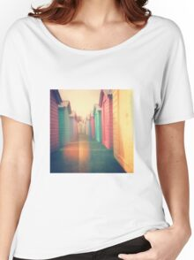 Beach Huts 02D - Retro Women's Relaxed Fit T-Shirt