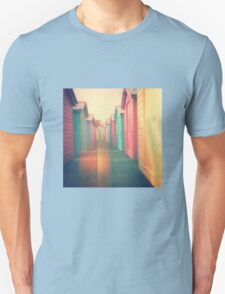 Beach Huts 02D - Retro Unisex T-Shirt