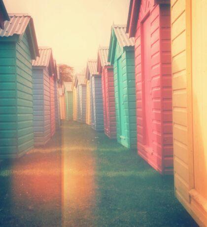 Beach Huts 02D - Retro Sticker