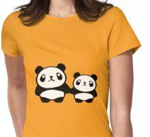 Cute Pandas holding hands Womens Fitted T-Shirt