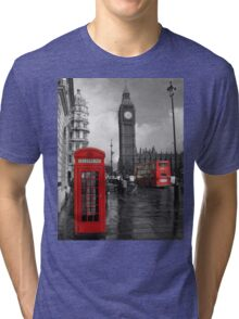 London Red Bus and Telephone Box Tri-blend T-Shirt