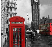 London Red Bus and Telephone Box by ExodusMusic
