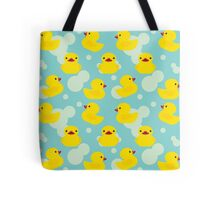 Cute Baby Shower Yellow Bathtime Rubber Ducks Pattern Tote Bag