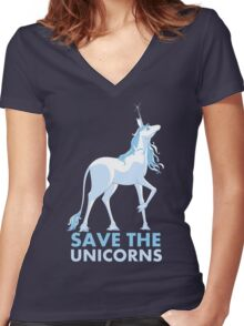 Save the Unicorns Women's Fitted V-Neck T-Shirt