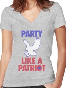 Party Like A Patriot - USA! Women's Fitted V-Neck T-Shirt