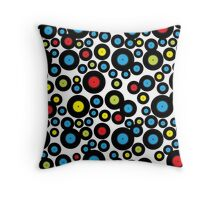 DJ Retro Vinyl Record Album Black Red Blue Pattern Throw Pillow