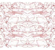 Robin Toile de Jouy Inspired Red Sticker