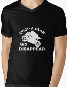 Drop A Gear And Disappear. Motorcycle T shirt Mens V-Neck T-Shirt