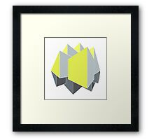 Abstract gray and yellow 3D shapes on 2-point perspective Framed Print
