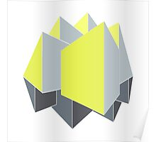 Abstract gray and yellow 3D shapes on 2-point perspective Poster