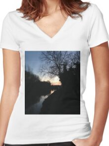 dusk by river Women's Fitted V-Neck T-Shirt