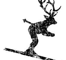 Ski Stag Vintage Black (Deer) by theshirtshops